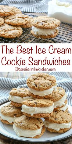 The BEST Ice Cream Sandwiches start with a perfectly chewy cookie! get the recip… The BEST Ice Cream Sandwiches start with a perfectly chewy cookie! get the recipe at barefeetinthekitc… Diy Ice Cream Cake, Pumpkin Ice Cream, Ice Cream Treats, Ice Cream Cookies, Ice Cream Sandwich Cookies Recipe, Waffle Ice Cream Sandwich, Homemade Ice Cream Sandwiches, Ice Cream Recipes, Cookie Sandwiches
