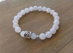 Cancer Bracelet, Cancer Zodiac Bracelet, Rose Quartz, Moonstone, Cancer Jewelry, Cancer Jewellery, Sterling Silver Cancer Bead