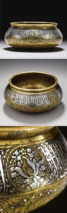 A fine Mamluk gold- and silver-inlaid cast brass bowl with inscription, Egypt or Syria, late 13th or early 14th century Estimated $ 400,000-500,000. Photo: Courtesy Sotheby's