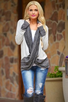 Stripes Cross Over Sweater - Heather Grey from Closet Candy Boutique 10% off and FREE shipping with code REPJENNIFER!