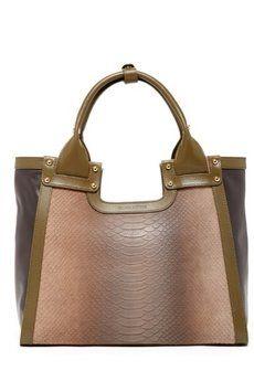 Charles Jourdan Green Brown Tote Bag $235
