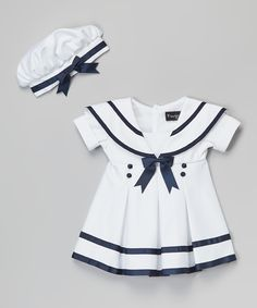 White & Navy Blue Sailor Dress & Beret//