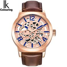 Cheap watch shanghai, Buy Quality leather mens watch directly from China leather watch cuff Suppliers: IK colouring Rose Gold Case Automatic Mechanical Watches Men Brand Luxury Genuine Leather Transparent Hollow Skeleton Watch Ghana, Sierra Leone, Seychelles, Madagascar, Skeleton Watches, Business Fashion, Business Style, Military Men, Art Journal Pages