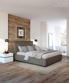 Parete in legno dietro il letto Bedroom Bed Design, Modern Bedroom Design, Small Room Bedroom, Home Bedroom, Bedroom Decor, Master Bedroom Makeover, Luxurious Bedrooms, Beautiful Bedrooms, Bedroom Apartment