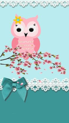 By Artist Unknown. Owl Wallpaper Iphone, Cute Owls Wallpaper, Animal Wallpaper, Cellphone Wallpaper, Beautiful Wallpapers For Iphone, Pretty Backgrounds, Cute Wallpapers, Diy And Crafts, Paper Crafts