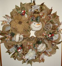 Woodland Snowman Burlap and Mesh Wreath Winter by StarlightWreaths