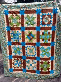 Turquoise and Green 12 Block Quilt by KellarGirlCreations on Etsy, $400.00
