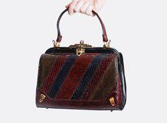 Vintage 70s Burgundy SNAKESKIN PURSE / 1970s Striped Patchwork Leather Bag