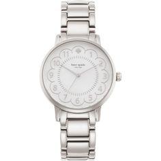 kate spade new york 1YRU0792 Women's Gramercy Scalloped Bracelet Strap... ($255) ❤ liked on Polyvore featuring jewelry, watches, polish jewelry, kate spade jewelry, kate spade watches, clear watches and white jewelry