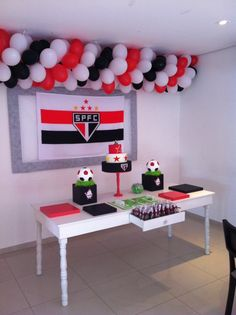 Soccer party black white and red