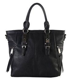Diophy Gun Metal Double Side Pockets Casual Tote Handbag CZ-3723 Black