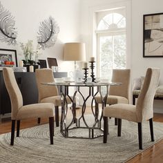 This beautiful set creates a warm welcoming spot, and is a must have for a modern informal dining room.
