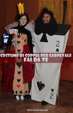 Costume di coppia per carnevale: regina di cuori e carte due di picche fai da te