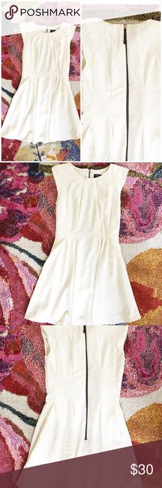 """Topshop fit and flare off white dress Like new Has liner Exposed zipper  32.25""""   14.5"""" pit to pit Topshop Dresses Mini"""