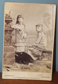 RARE Antique Cabinet Card Photo SISTER Little Girls PROVIDENCE RI Identified