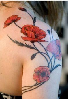 Poppy Shoulder Tattoo