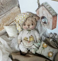 Интерьерные куклы для души Ларисы Новиковой. Antique Teddy Bears, Diy Cat Toys, Teddy Toys, Super Cute Animals, Bear Doll, Fabric Dolls, Hobbies And Crafts, Handmade Toys, Softies