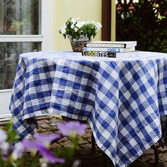Tablecloths – Blue Check Linen Cotton Tablecloth (140x200cm) – a unique product by LinenTales on DaWanda