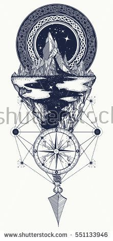 Mountains, compass, arrow, tattoo. Adventure, travel, outdoors, symbol, boho style, t-shirt design. Star river and mountains tattoo art, hipster style