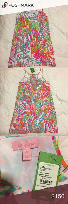 NWT Lilly Pulitzer silk dress in Scuba to Cuba New With Tags silk Lilly Pulitzer Dusk Slip dress in Scuba to Cuba. Size small Lilly Pulitzer Dresses