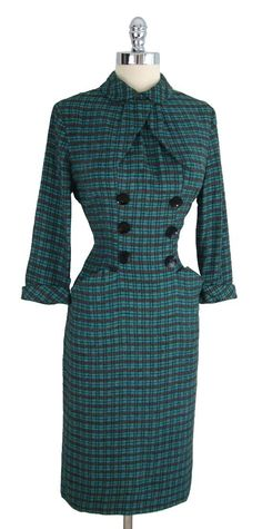 RESERVED for Kinora-Vintage 1950's 50's Plaid Bombshell Teal Black Wool Hourglass Buttons Secretary Wiggle Dress