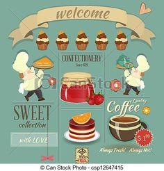 ベクター - 甘い, カフェ, メニュー, レトロ, デザイン - ストックイラスト, ロイヤリティーフリーイラスト, ストッククリップアートアイコン, ロゴ, ラインアート, EPS画像, 画像, グラフィック, ベクター画像, アートワーク, EPSベクターアート