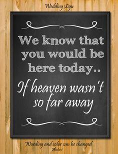 Chalkboard Wedding sign If heaven wasn't so by chalkboarddesign, $7.99