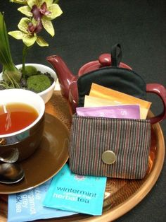 Tea Bag Travel Wallet - Pinstripes, $9.95
