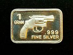 1 GRAM .999 Fine Pure Silver 38 Special  GUN PISTOL COIN BAR  SMITH COLT SIG 22L