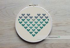 A set of 3 geometric heart patterns in my personal favorite colors. Try different color combinations and fabrics to create a new look every time!  The