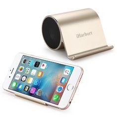 iHarbort® mini beweglicher nachladbarer Bluetooth Lautsprecher mit Bass und Handy-Halter stand für Tablet / Handy- Gold, 14,99 Euro