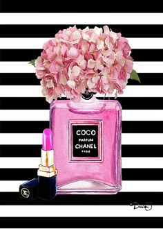 21ce5f8272c509 Chanel Poster Pink Perfume Hydrangea Print Greeting Card for Sale by Del Art