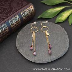 Brocéliande earrings in Gold Filled - Stunning gold earrings by cs atelier Asian Hair Pin, Gold Earrings, Drop Earrings, Mineral Stone, Artisanal, Hair Pins, Bracelets, Minerals, Jewellery