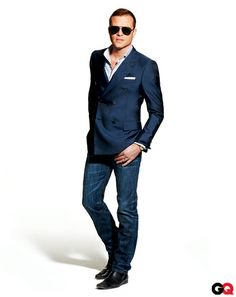 Every guy needs a great pair of dark straight leg denim and a good fitting blue blazer. They are so interchangeable and versatile.