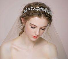 Elegant Crystal Tiara Wedding Bridal Floret Diamante Crown Headband Hair Jewelry for sale online Bride Hairstyles, Headband Hairstyles, Nature Inspired Wedding, Crown Headband, Bridal Tiara, Hair Vine, Hair Jewelry, Women Jewelry, Jewelry Sets