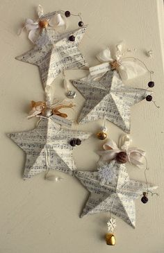 Stars made from sheet music, could use old books as well.