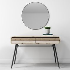 Industrial Style Reclaimed Wood Console Table with Metal Legs & 2 Drawers