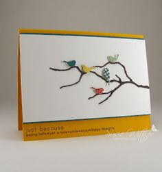 Resting Birds & Grove Branch (Memory Box dies) - CAS.  Love the different coloured birds!