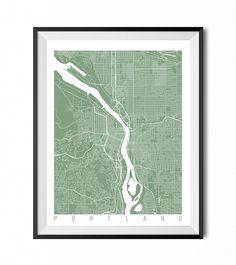 Portland Map Art Print / Oregon Poster / Portland Wall Art Decor / Choose Size and Color by CityMapArt on Etsy https://www.etsy.com/listing/207821130/portland-map-art-print-oregon-poster