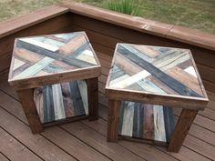 Rustic Herringbone Style Wood End Tables by Bayocean Rustic Design