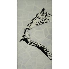 Giraffes Acrylic Painting- looks like they're kissing(: