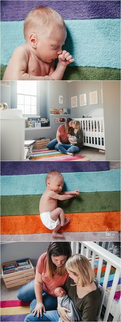 moms in ranbow themed nursery with newborn baby boy Themed Nursery, Nursery Themes, Newborn Photography, Photography Ideas, Lifestyle Newborn, Newborn Session, Baby Boy Newborn, Little Babies, Kids Rugs