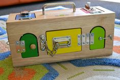 """Awesome 19th month and 5-year-old Montessori lifestyle Blog. (Shown: """"lock-box"""")"""