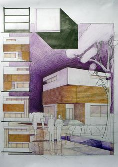 Cube House Student Design. Although the graphics are spot on, there are couple of mistakes. Always mark the transition between two different materials with glass. Also, never use a different material just on one flat face - go for having the material covering the local volume. Not sure about those top level windows - they are symmetrical and that is bad for any perspective. Pencil + Colored Crayons on 50x70 Standard Paper, 7 Hours Completion Time #architecture #architect #rendering