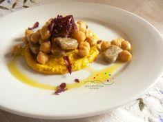 Ricetta Primo piatto GLUTEN FREE: Gnocchi di Grano Saraceno con Ceci al profumo di Santoreggia Montana  e crema alla Curcuma