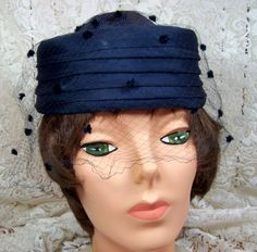 VINTAGE NAVY COCKTAIL HAT WITH VEIL  PLEATED by thingsandblings