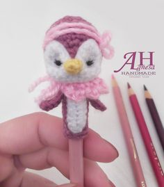 crochet pencil topper PENGUIN                                                                                                                                                     More