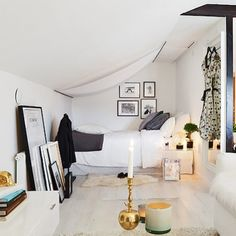 This cozy attic studio apartment has everything one needs while using very little space, which is pretty impressive.