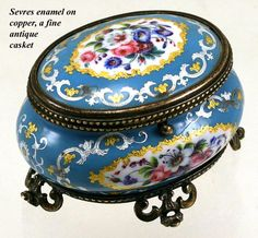 Antique French Sevres Enamel Jewelry Box, Casket, Ormolu - Gilt Bronze Frame…