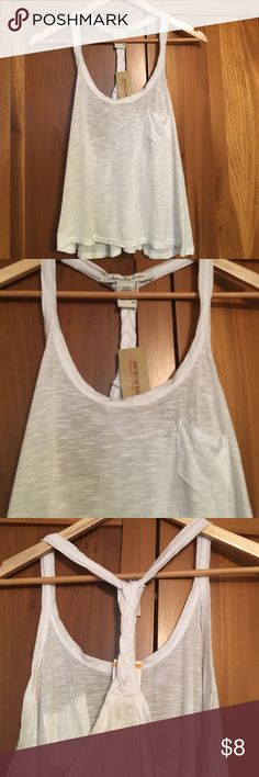 Flowy white top White braided racerback loose-fitting tank brand new. American Rag Tops Tank Tops